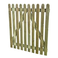 1200mm (4ft) High Round Top Pale 1.0m Wide Palisade Gate also known as Picket Fence Gate.  This well made, sturdy gate offers years of life as is manufactured using the best quality softwood and is treated with preservative to prevent decay and rotting. Don't forget to order your fittings such as Hinges & Latch.