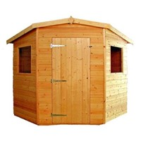 The Rutland Corner 5 Sided Shed 2.1 x 2.1m comes complete with a top quality lock and key, it has full tongue and grooved timber floors and roofs, thick 15mm cladding, and are constructed using solid 45 x 34mm timber framing to ensure a long life. The single door is 790 x 1750mm and the unit has an internal height of 1.8 – 2.0m. It is factory treated and stained with a water based red cedar colour treatment, and supplied with heavy 20kg roofing felt, glass, trims and all fixings required to install the building.