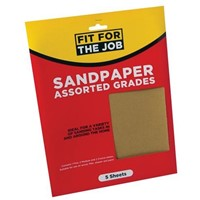 Our Rodo pack of 5 sheets of assorted sandpaper is suitable for all general purpose hand sanding jobs in preparation for staining or painting.