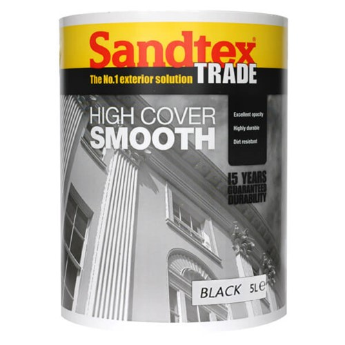 Sandtex 5l black high cover smooth masonry paint lawsons - Best price sandtex exterior paint ...