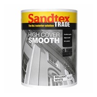 Sandtex Pure Brilliant White Smooth Masonry Paint, due to its microseal technology, gives a dirt resistant, breathable and waterproof finish. Smooth masonry paint is a creamy formulation that covers large areas fast and we recommend 2 coats for best results. It is suitable for most exterior surfaces as long as dry and sound  and is easily applied with a masonry brush.