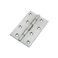 Frisco satin chrome double phosphur bronze washered hinges complete with fixing screws. Size: 76mm x 51mm x 2.5mm. Finish: Satin Chrome.