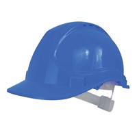 Scan safety helmet is made from high density polyethylene which provides superb head protection. Head protection is crucial for site workers to be safe from collisions against secure obstacles and falling objects. This safety helmet has been designed to channel all water away from the face. Colour: Blue.