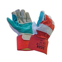 Scan Heavy-Duty Rigger Gloves are superior quality heavy-duty cowsplit leather gloves with double stitched green split leather reinforced palm, thumb and full wrapped index finger. Have a red fabric back with elasticated braid and 7 cm rubberised cuffs, with reinforced finger tips and knuckle strap. Conforms to EN420 and EN388.
