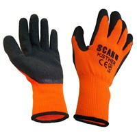Scan knitshell thermal gloves are high visibility and thermal lined in black and orange. The black latex wrinkle coating on the palm and fingers gives excellent grip in both wet and dry conditions. Ideal for the construction, automotive and handling industries. Size: Large. Conform to EN420 and EN388