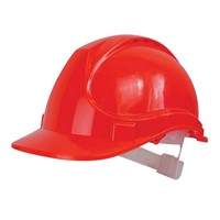Scan safety helmet is made from high density polyethylene which provides superb head protection. Head protection is crucial for site workers to be safe from collisions against secure obstacles and falling objects. This safety helmet has been designed to channel all water away from the face. Colour: Red.