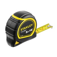 Stanley 5 metre Tylon Pocket Tape has a corrosion resistant, long-life Tylon coated blade with positive blade lock for accurate measurements. Shows both metric and imperial graduations. Fitted with a Tru-zero hook, that compensates accurately for internal and external measurements, with triple rivet construction for improved strength and durability. The impact resistant ABS plastic case is fitted with an ergonomic overmould for all day comfort.
