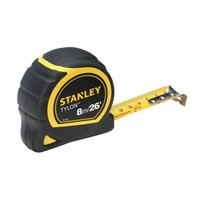 Stanley 8 metre Tylon Pocket Tape has a corrosion resistant, long-life Tylon coated blade with positive blade lock for accurate measurements. Shows both metric and imperial graduations. Fitted with a Tru-zero hook, that compensates accurately for internal and external measurements, with triple rivet construction for improved strength and durability. The impact resistant ABS plastic case is fitted with an ergonomic overmould for all day comfort.