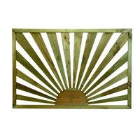 Richard Burbidge 760mm x 1130mm x 36mm Sunburst shaped timber panel which is designed to decorate and add some privacy to the perimter of a decking area.