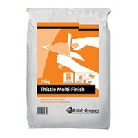 Thistle Multi Finish is a high quality internal plaster for applying to ceilings and walls. It gives a durable base for applying decorative finishes to. It can be applied to plasterboards, gypsum undercoat plasters and even flat concrete surfaces that have been treated with a bonding agent.