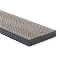 Trex transcend 25mm x 140mm x 4880mm solid edge decking board in Gravel Path colour is stain, fade, scratch and mould resistant because of its durable, three-side shell protection. Commonly used with Trex Universal Clip and Trext Start Clip to create a secret fixing system where no screw head is visible on the walking surface.