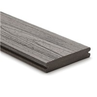 Trex transcend 25mm x 140mm x 4880mm grooved edge decking board in Island Mist colour is stain, fade, scratch and mould resistant because of its durable, three-side shell protection. Commonly used with Trex Universal Clip and Trext Start Clip to create a secret fixing system where no screw head is visible on the walking surface.