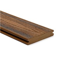Trex transcend 25mm x 140mm x 4880mm grooved edge decking board in Spiced Rum colour is stain, fade, scratch and mould resistant because of its durable, three-side shell protection. Commonly used with Trex Universal Clip and Trext Start Clip to create a secret fixing system where no screw head is visible on the walking surface.