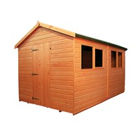 The Warwick Apex Plus Shed 3.6 x 3.0m comes complete with a top quality lock and key, it has full tongue and grooved timber floors and roofs, thick 15mm cladding, and are constructed using solid 45 x 34mm timber framing to ensure a long life. The single door is 790 x 1750mm and the unit has an eaves height of 1.8m. It is factory treated and stained with a water based red cedar colour treatment, and supplied with heavy 20kg roofing felt, glass, trims and all fixings required to install the building.
