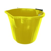 Heavy duty 3 gallon yellow bucket is ideal for both industrial applications as well as do it yourself projects. It has a scoop edge and a pour edge along with a galvanised steel handle and metal lugs.